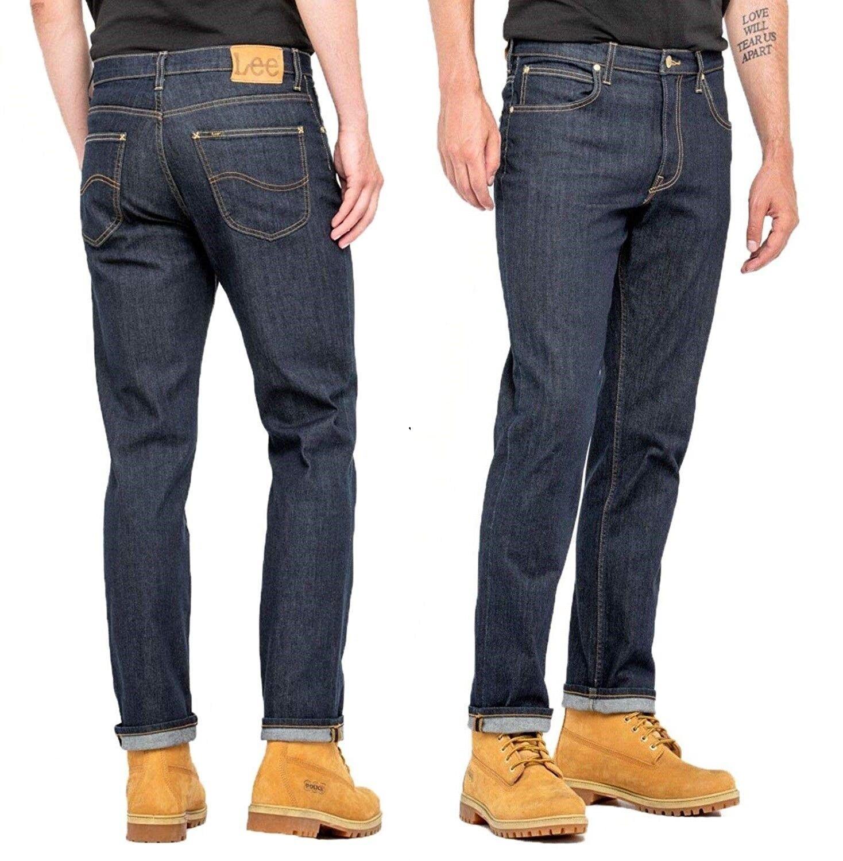 Men's New Lee Brooklyn Straight Leg Jeans Regular Fit Darkwash
