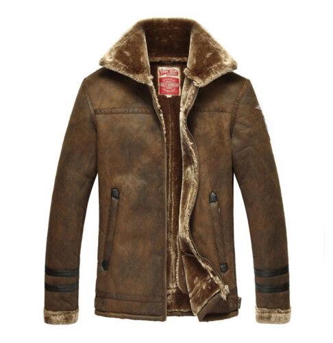 Fashion Men/'s Winter Coat Warm Leather Lapel Thick Wool Overcoat FUR Coat Jacket