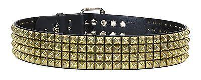 "Three Row 1//2/"" Pyramid Stud Leather Belt Punk Metal,Thrash,Sid Vicious USA Made"