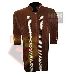 AMERICAN-WESTERN-NATIVE-STYLE-1057-BROWN-FRINGE-BEADED-SUEDE-LEATHER-JACKET