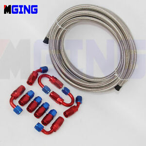 AN6-AN-6-Stainless-Steel-Braided-Oil-Fuel-Line-Hose-Fitting-Hose-End-Adapter-Kit