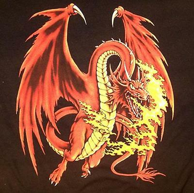 RED DRAGON WITH FLAMES WALL TAPESTRY #106 wyvern wings fire mystical creature