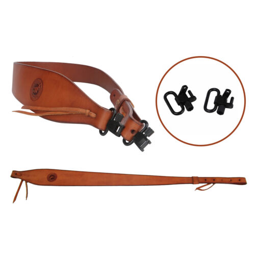 """Tourbon Leather Shotgun Sling Rifle Strap Quick Release 2pc 1/"""" Swivel Included"""
