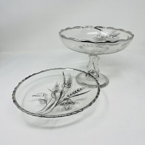 Vintage Crystal Silver Inlay Flowers Wheat Trim Candy Dish And Footed Tray