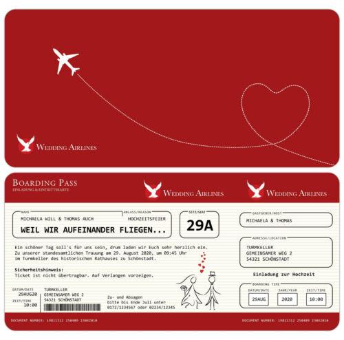 Einladung zur Hochzeit als Flugticket Einladungskarte mit echter Perforation