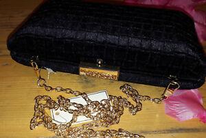 Box Chain Evening Vlv Velvet 80s New Bag Clutch Retro Bnwt 60s Black Gold 70s wq1RXUS