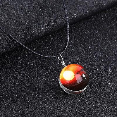 Retro Galaxy Universe Nebula Space Glass Ball Pendant Glow in the dark Necklace