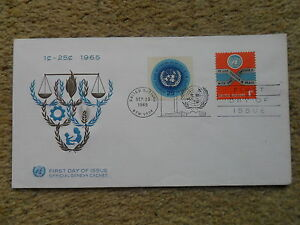 1965-United-Nations-Geneva-Cachet-First-Day-of-Issue-Special-Postmark-2-Stamps