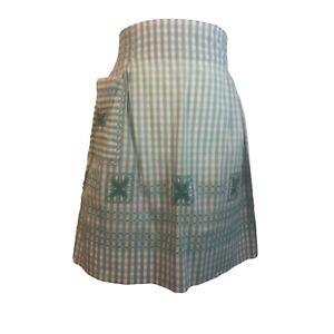 Half Apron Vintage Blue Green White Gingham Check Embroidered Handmade W Pocket