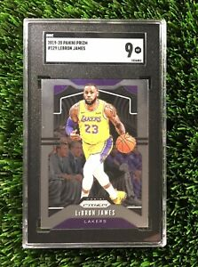 LeBRON-JAMES-2019-PANINI-PRIZM-LAKERS-129-SGC-MINT-9-compare-to-PSA-9