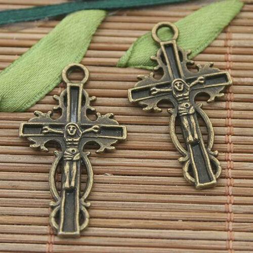 12pcs bronze tone crucifix charms pendant h3162