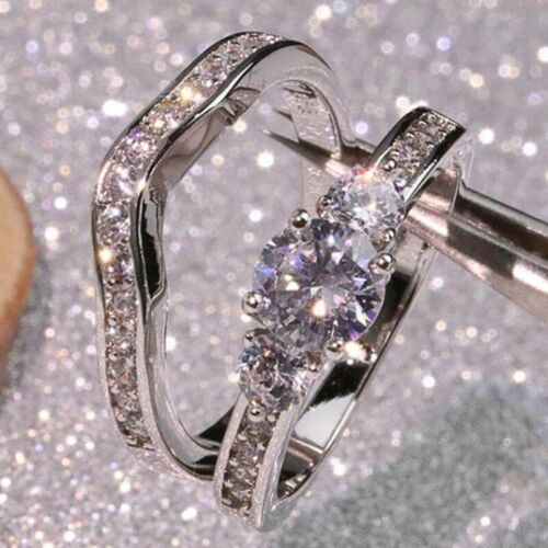 2Pcs//Set Women Ring Set 925 Silver Diamond Ring Bride Engagement Wedding Ring