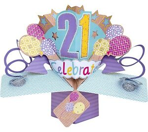 Image Is Loading 3D Pop Up Card Happy 21st Birthday Girl