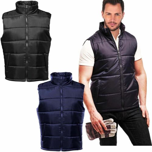 Mens Quilted Padded Fleece Lined Gillet Sleeveless Coat Bodywarmer Jacket S 3XL