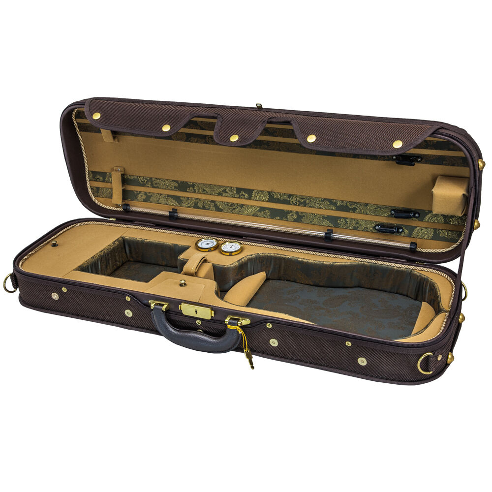 SKY 4/4 Violin Oblong Case Solid Wood with Hygrometers Coffee/Khaki