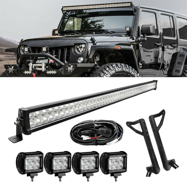 Excellent 52Inch Led Light Bar 418W Pods 2 Wiring Rocker Switch For Jeep Wiring Digital Resources Nekoutcompassionincorg