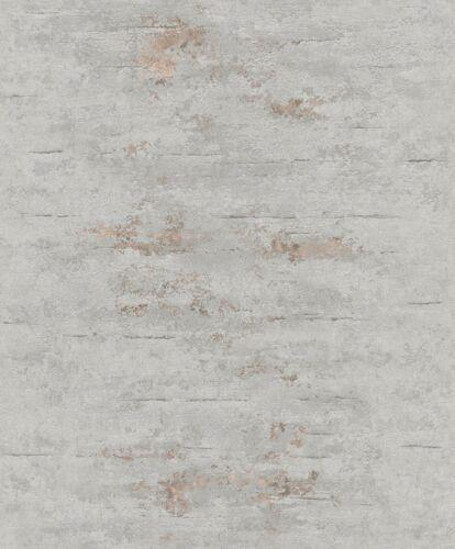 Grandeco Stein Beton Tapete Wanddekoration Grau Metallisch Kupferfarben ON4202