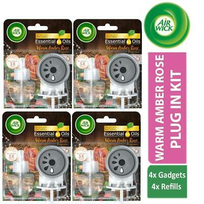 4 x AirWick Electrical Plug In Kit Warm Amber Rose 1 Gadget + 1 Refill 19ml