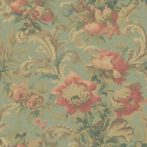 Wallpaper-Designer-Large-Floral-and-Acanthus-Leaf-Scroll-on-Pale-Green-Faux