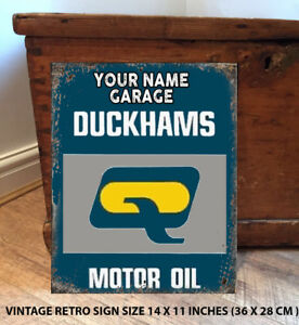 PERSONALISED-DUCKHAMS-OIL-14-X-11-INCHES-GARAGE-SHED-GIFT-Vintage-Metal-Sign