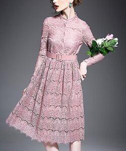 Consciencieux Taille 6 Robe De Soirée Rose Dentelle Midi Belted