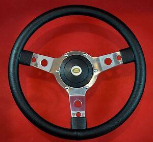 14-034-Vinyl-Steering-Wheel-Red-Stitch-amp-Hub-Fits-LR-Defenders-18-5mm-x-48-Splines