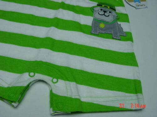 NWT Carter/'s Infant Boys Romper St Patrick/'s Day Green Clover Dog Irish Cute