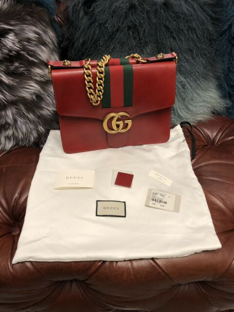 1adc2599887  4880 GUCCI ALESSANDRO GG MARMONT RED CALF LEATHER WEB CHAIN FLAP SHOULDER  BAG