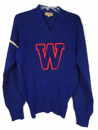 VTG 50s 60s Blue Letterman Sweater Football Colleg