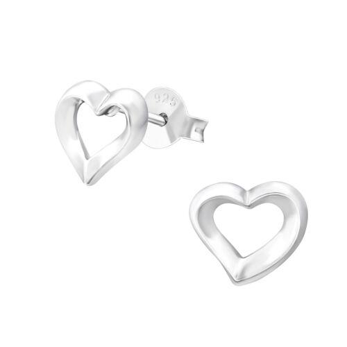 925 Sterling Silver Heart Design Stud Earrings