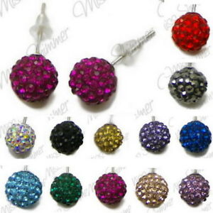 STERLING-SILVER-EARRINGS-WITH-POLYMER-CLAY-RHINESTONE-BEADS-SELECT-COLOUR-STUDS