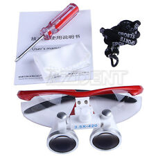 US Stock 1 Set Dental Surgical Medical Binocular Loupes Red Glasses Magnifier