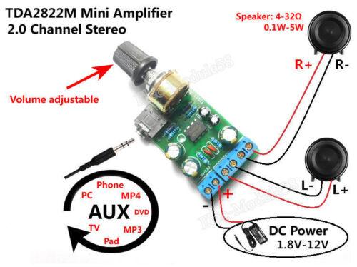 Mini DC 3.7~12V 5V TDA2822M 2.0-CH Stereo Audio Power Amplifier Board 3.5mm AUX