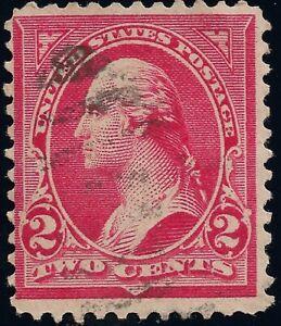 Carmine 279 bf US Type IV Washington Stamp 2 CENTS NH NG Light Fancy Cork Cancel