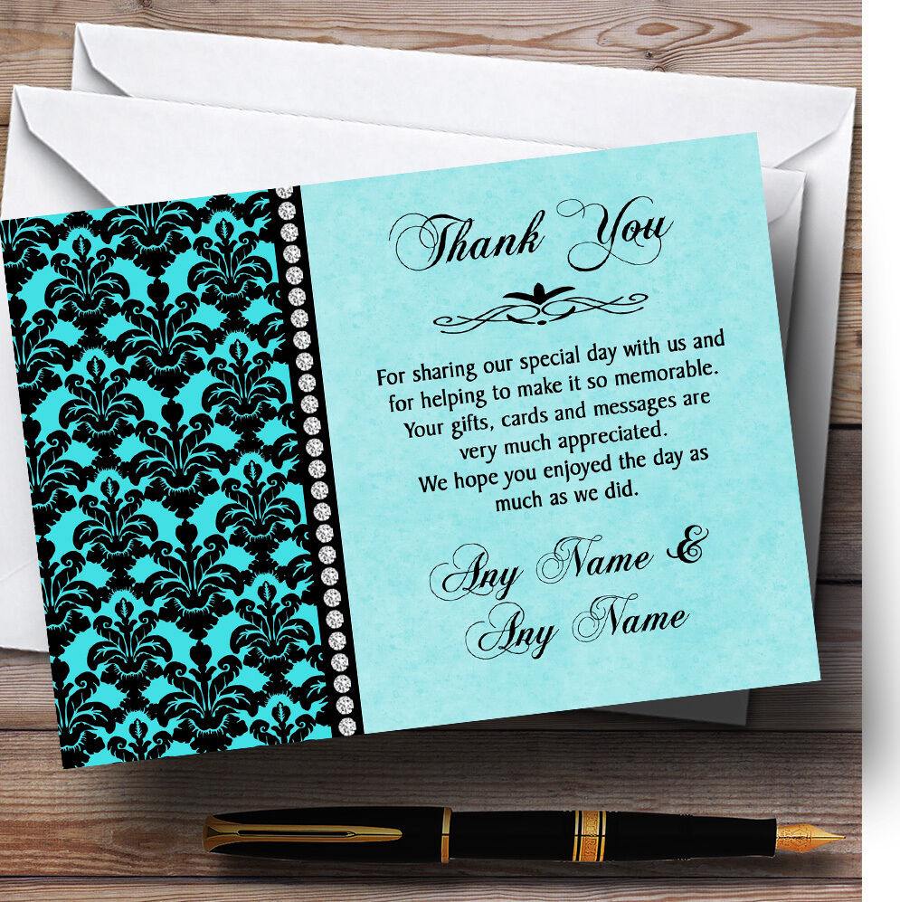 Aqua Azul Cielo Negro Damasco Y Diamante Personalizado Boda Tarjetas De Agradecimiento