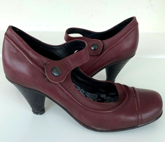 FLY LONDON FLY GIRL Dark Red Mary Jane Heels 6 / 39 Real Leather / b4