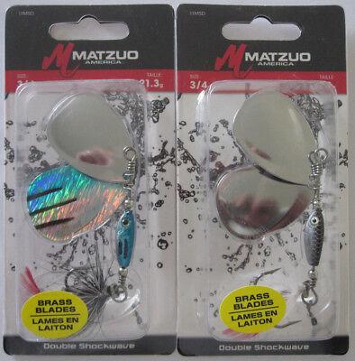 MATZUO SHOCKWAVE INLINE SPINNER STRIPER 1//4 OZ FISHING LURE BRASS BLADES