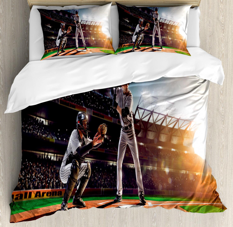 Teen Room Duvet Cover Set with Pillow Shams Baseball Player Game Print