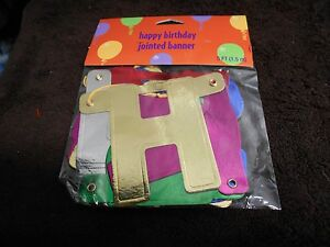 HAPPY BIRTHDAY JOINTED BANNER NEW 5 FT MULITCOLOR NEW