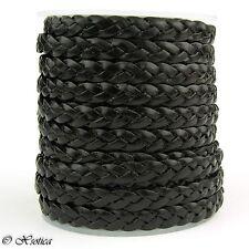 Flat Braided Leather Cord 5mm 1 Yard