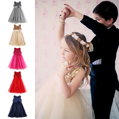 Flower Girl Princess Bow Dress Children Wedding Party Pageant Tulle Dresses NEW