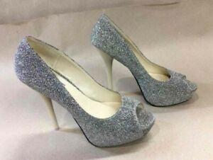 dee3c8e5596 Details about Women's Fahrenheit Peep Toe Sparkle Pewter Glitter Pumps High  Heels Size 8.5