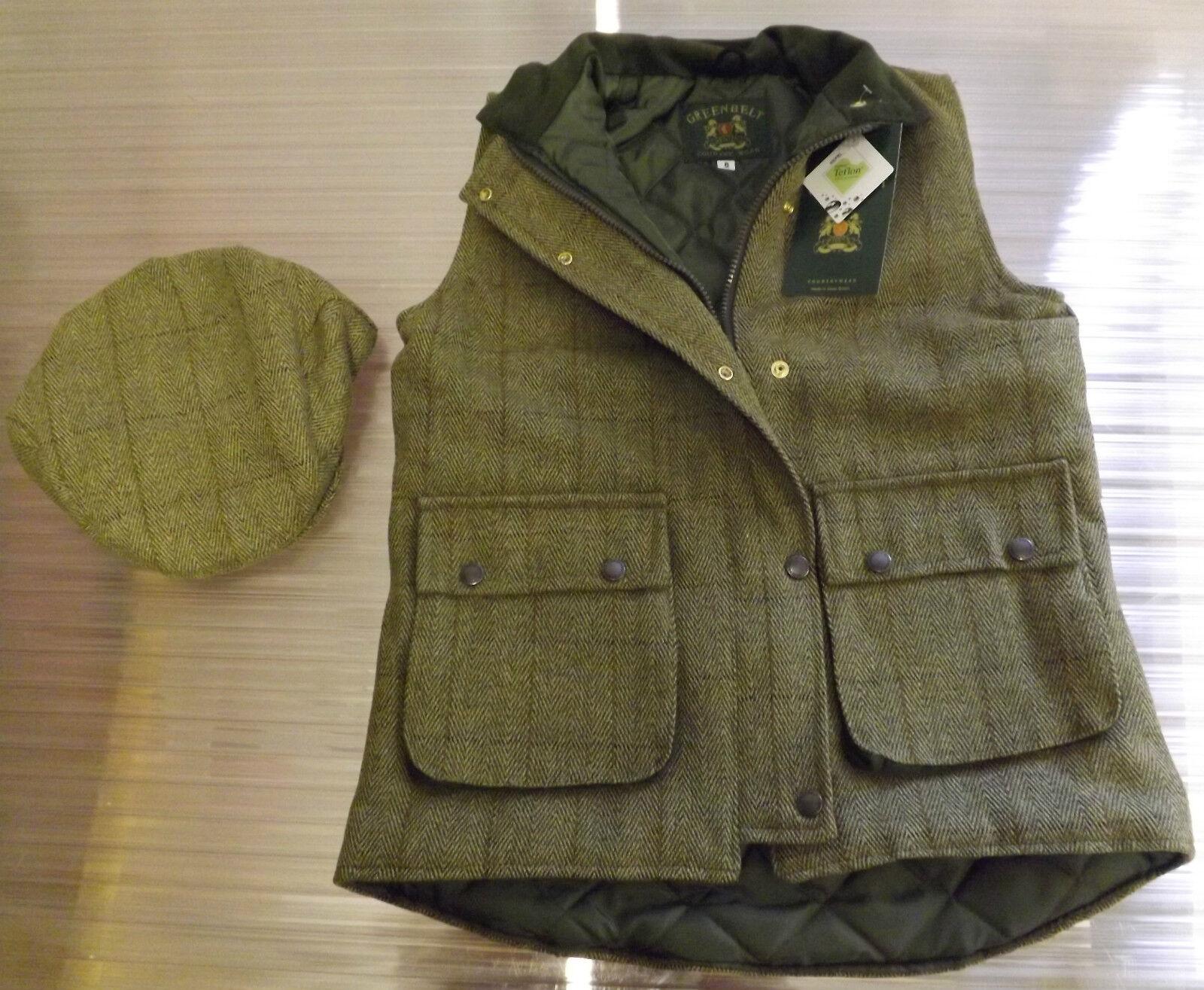 NUOVO donna lana di qualità montati verde Tweed Panciotto corrispondenza Tweed Berretto Piatto