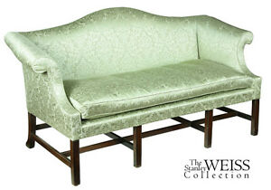 Details About SWC Small Scale Chippendale Mahogany Camelback Sofa,, C.1780