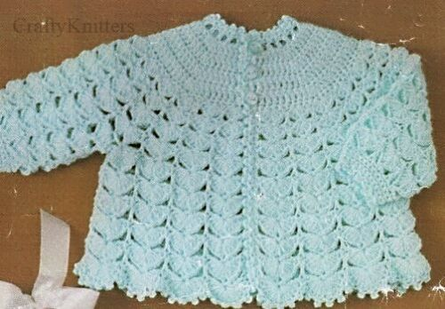 Vintage Crochet Pattern for 3 Pretty Lacy Effect Baby Matinee Cardigans 4 Ply
