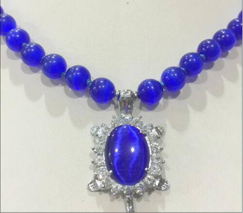 New 8mm Blue Sri Lanka Moonstone Gems Tortoise Pendant Necklace 18 /'/' AAA ++