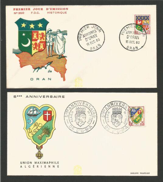 Agressif 2 Fdc 1er Jour 1960 Alger Et Oran Armoiries /t170