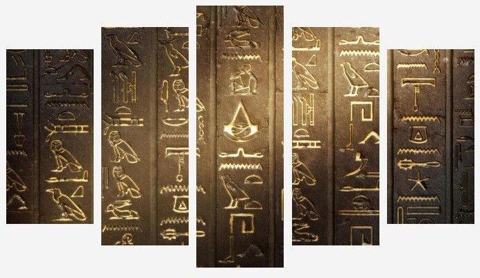 Égyptien hiéroglyphes de l'Egypte ancienne Wall Art 5 Split Panneau Toile Photos