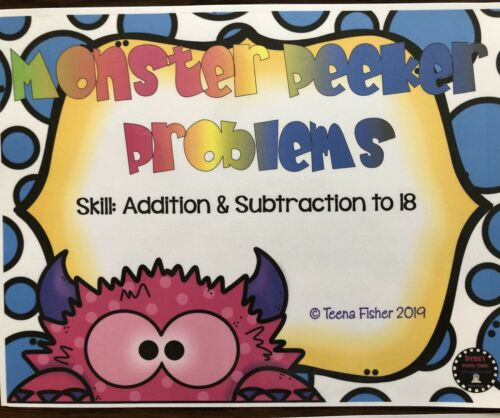 Teacher Made Clip Cards Laminated Math Game Centers Addition Subtraction To 18