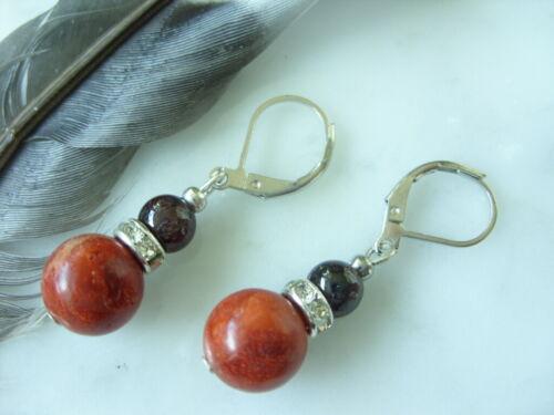 Brisuren rhodiniert 10 mm rote Koralle Ohrringe Ohrhänger Earrings mit Granat